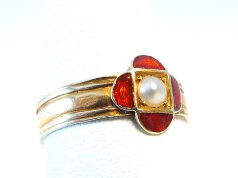クロワゾネエナメル指輪(アンティーク有線七宝、真珠、18金ゴールド)