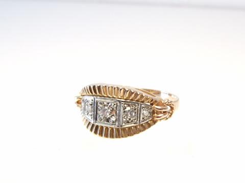 ヴィンテージダイヤモンド指輪(1940年代フランス、イエローゴールド)