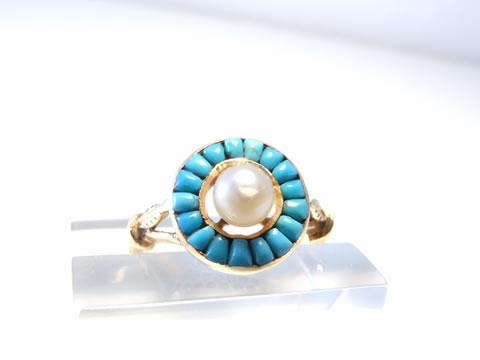 真珠とトルコ石のアンティークリング