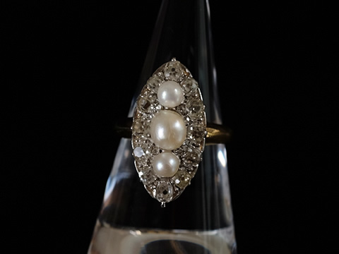 天然真珠アンティーク指輪(ハイジュエリー、オールドカットダイヤモンド、1900年頃)