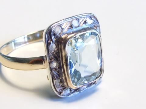 アンティークアクアマリン指輪(アールデコ、ダイヤモンド)