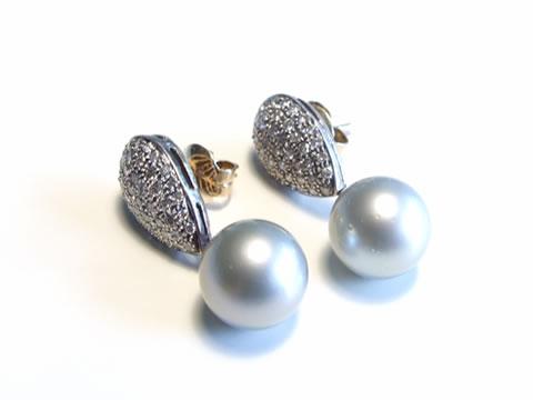 アンティーク黒真珠ピアス(ブラックパール、ダイヤモンド、アールデコ)