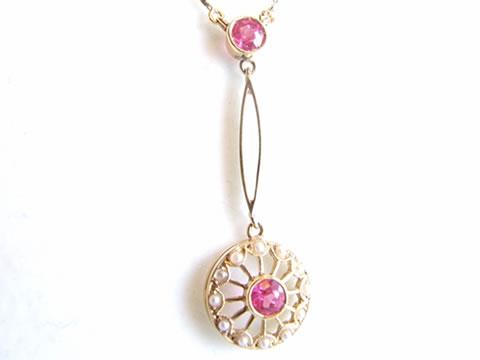 アンティークピンクサファイヤネックレス(天然真珠、ペンダント、チェーン付き)