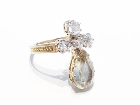 アンティークシトリンリング(ダイヤモンド、洋ナシカット)