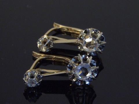 アンティークダイヤモンドピアス(フランスベルエポック、18kゴールド)