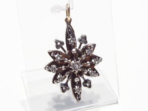 アンティークダイヤモンドペンダントトップ(星と三つ葉のモチーフ)