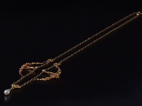 マーガレットのネックレス(バロック真珠、アールヌーボー)
