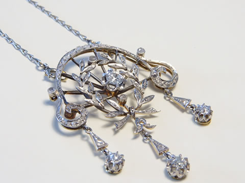 花綱ダイヤモンドネックレス(ガーランド、ベルエポック、プラチナ、オリジナルチェーン付き)