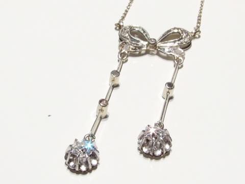 アンティークネグリジェネックレス(ダイヤモンド、リボン、蝶結び)
