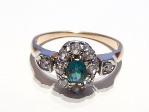 アンティークエメラルド指輪(ダイヤモンド、フランス第二帝政期)