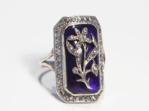 アンティークブルーグラス指輪(ブリストルグラス、マルカジット、銀製)