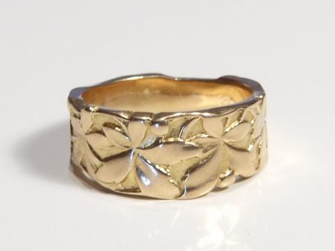 アールヌーヴォーゴールド指輪(金彫り、ツーカラーゴールド)