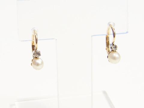 天然真珠アンティークドルムーズピアス(ダイヤモンド、1820年頃)