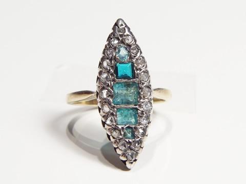 アンティークエメラルドマーキーズ指輪(スクエアカット、ダイヤモンド、銀の台座、19世紀)
