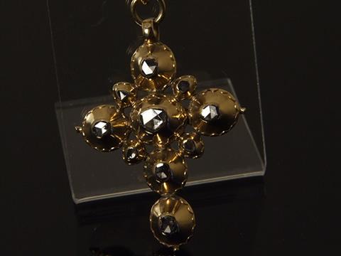 アンティークローズカットダイヤモンド十字架(17-18世紀、南仏ビジュードプロヴァンス)