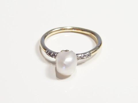 アンティーク天然バロック真珠指輪(ダイヤモンド、アールデコ、1920年代)