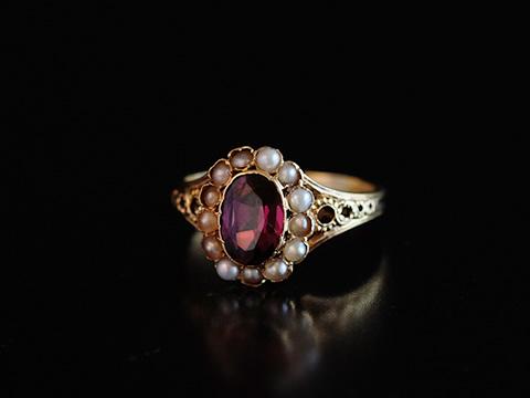 ペアンティークガーネット指輪