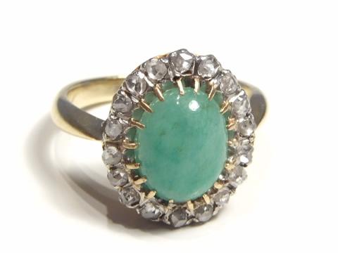 アンティーク翡翠指輪(ひすい、ダイヤモンド、クラスターリング)