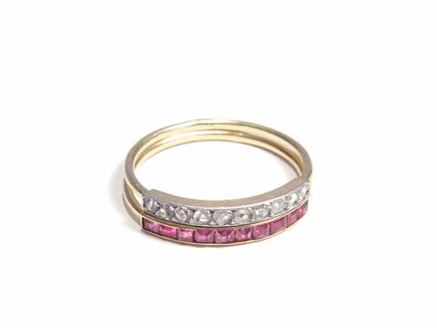 ルビーとダイヤモンドのアンティークセミエタニティーリング