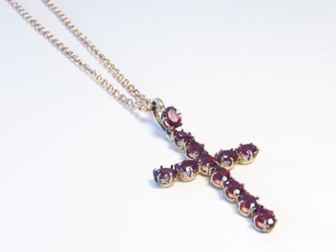 アンティークガーネット十字架ペンダント(クロス、ヴェルメイユ、南仏)