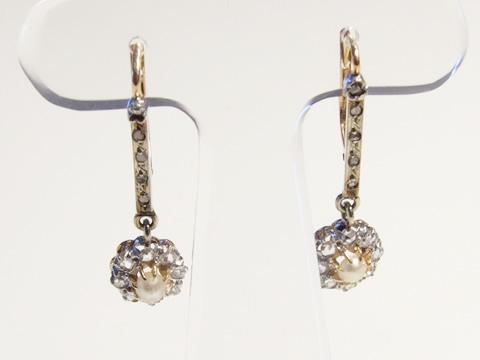 アンティーククラスターピアス(天然真珠とダイヤモンド、ゴールド)