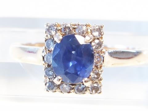 アンティークブルーサファイヤ指輪(セイロン産、ダイヤモンド、アールデコ)