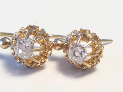 クッションシェイプダイヤモンドピアス(イエローゴールド、1900年頃)