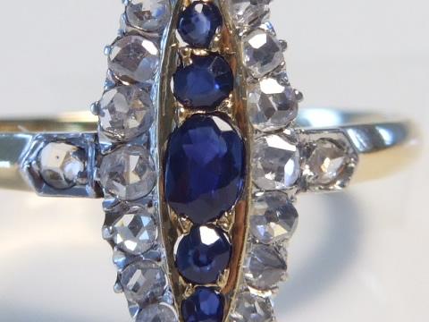 ブルーサファイヤアンティークリング(マーキーズリング、ダイヤモンド、ゴールドとプラチナ)