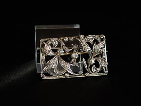 アンティークダイヤモンドブローチ(フィヤージュ、葉と枝のモチーフ、銀製)