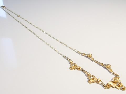 アンティーク薔薇のネックレス(アールヌーヴォー、金細工、ハンドメイド