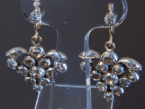 18世紀アンティークダイヤモンドピアス(葡萄、ローズカット、オリジナルボックス付き)