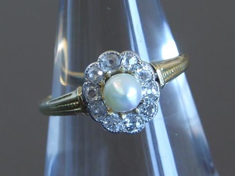 ナチュラルパールクラスターリング(マーガレット、オールドマインカットダイヤモンド)