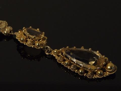 シトリンのネックレス(王政復古時代、カンティーユ金細工)