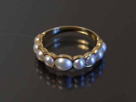 ハーフパール(天然半円真珠)指輪(1880年頃)