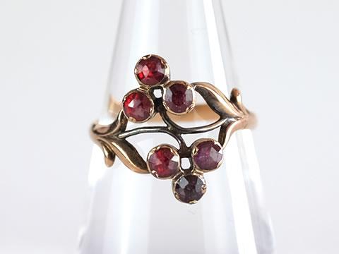 ペルピニャンガーネットアンティーク指輪(ダブルクローバー 三つ葉 )