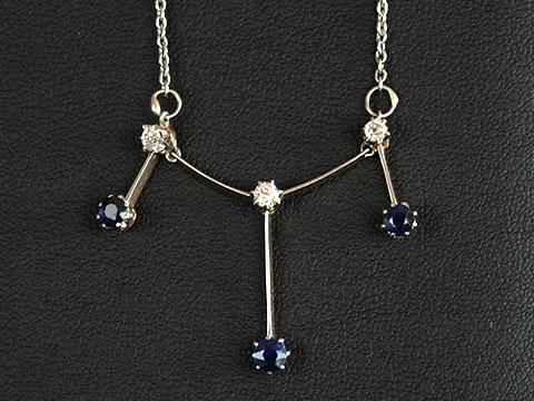 サファイアとダイヤモンドのドロップネックレス