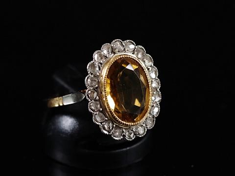シトリン アンティーククラスターリング(ダイヤモンド フランス製 19世紀)