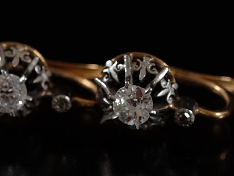 ダイヤモンドアンティークピアス(1900年頃 18金ゴールド、プラチナ)