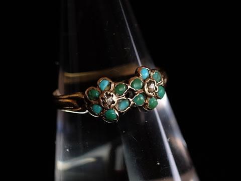 トルコ石のダブル勿忘草の指輪