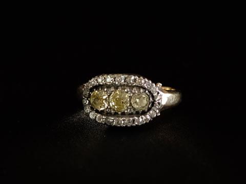 ジョージアン王朝時代 イエローダイヤモンドヤリング(1800年頃/イギリス/15カラットゴールド)