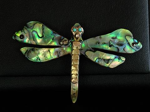 アバロン貝 アバロンシェル蜻蛉ブローチ(アールヌーボー)